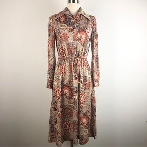 70s Long Sleeve Brown Floral Belted A Line Dress